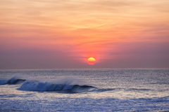 Dawn Sunrise Waves Colors Fotografia Stock Libera da Diritti