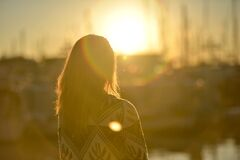 dawn-sunset-person-woman Stock Image