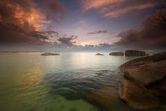 Dawn at tanjung tinggi belitung indonesia Stock Photos