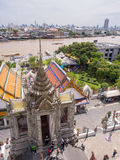 Dawn temple, landmark of Bangkok under cloudy blue sky Royalty Free Stock Photos
