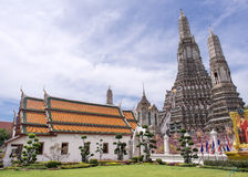 Dawn temple, landmark of Bangkok under cloudy blue sky Royalty Free Stock Photography
