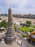 Dawn temple, landmark of Bangkok under cloudy blue sky Stock Photography