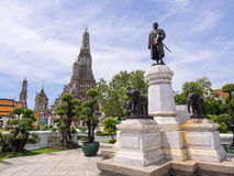 Dawn temple, landmark of Bangkok under cloudy blue sky Royalty Free Stock Image