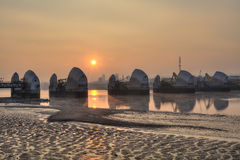 Dawn at the Thames Barrier Royalty Free Stock Images