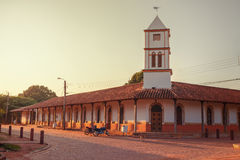 Dawn in the town hall of the Concepcion village, jesuit missions in the Chiquitos region, Bolivia. World Heritage stock photo