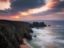 Dawn on Treen Cliffs Cornwall Royalty Free Stock Photo