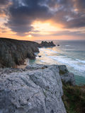 Dawn on Treen Cliffs Cornwall Royalty Free Stock Photography