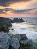 Dawn on Treen Cliffs Cornwall Royalty Free Stock Images