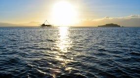 Dawn in a tropical bay. Palawan Island royalty free stock photography