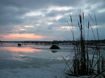 Dawn on Tulchinskom lake. The Moscow area. Early spring stock photography