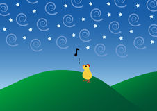 Dawn tune. A little rooster singing his dawn tune alone Vector Illustration