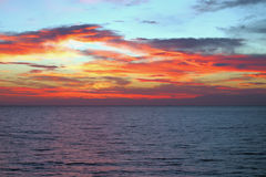 Dawn in Tyrrhenian Sea. Palermo, Sicily, Italy Stock Images