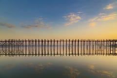 The dawn at Ubien bridge, Myanmar Stock Photo