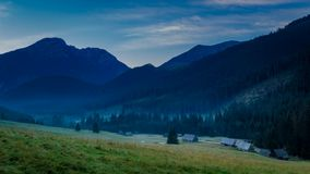 Dawn in the valley Chocholowska, Tatra Mountains stock video footage