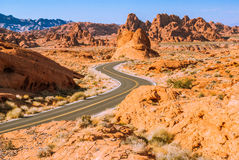 Dawn in the Valley of Fire, Nevada, USA. Winding road running through the Valley of Fire, Nevada, USA Stock Image