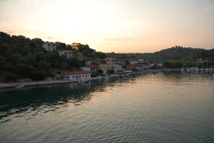 Dawn at Vathi harbour, Meganissi Royalty Free Stock Photo