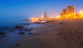 Dawn view of beach  at Badalona Stock Image