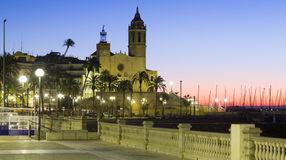 Dawn view of  church at   Sitges Stock Photos
