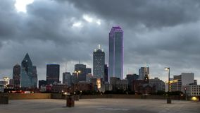 Dawn view Dallas skyline from the South royalty free stock photos
