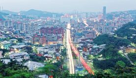 Dawn view of Keelung, a beautiful harbor city in northern Taiwan Stock Photography