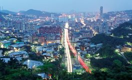 Dawn view of Keelung, a beautiful harbor city in northern Taiwan royalty free stock photo