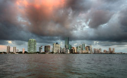 Dawn view of Miami Skyline Stock Photography