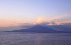 Mount Vesuvius near Naples, Italy. Picture was taken in Campania region, Vico Equense place. Dawn view of mount Vesuvius near Naples, Italy Stock Photography