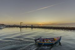 Dawn view of Olhao Recreational Marina, waterfront to Ria Formosa natural park. Algarve. Portugal Royalty Free Stock Photo