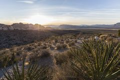 Dawn View Red Rock Canyon nationell naturvårdsområde Nevada royaltyfria bilder