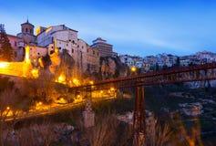 Dawn view of Saint Paul bridge in Cuenca Royalty Free Stock Image