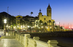 Dawn view of Sitges Stock Images