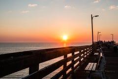 Dawn on Virginia Beach Fishing Pier Stock Photos