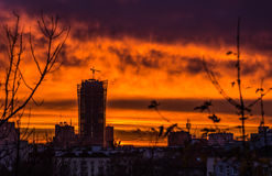 Dawn in Warsaw. Spectacular sunrise in Warsaw city in Poland Stock Photos