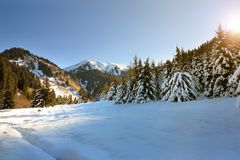 Dawn in the winter mountains. Of Kazakhstan Stock Image
