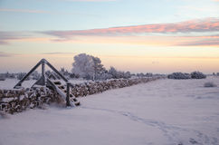 Dawn at a winterland with a stile by stone wall Stock Images