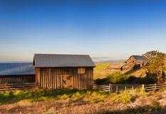 Golden Hour at The Dallas Mountain Ranch at Columbia Hills State. Dawns Light view of out buildings and vast landscape of The Dallas Mountain Ranch, a popular Royalty Free Stock Photography