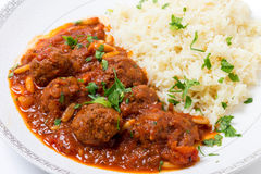 Dawood basha arab meatballs with rice Royalty Free Stock Photo