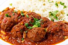 Dawood-basha arabische Fleischklöschennahaufnahme Stockfotografie