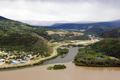 Dawson city. Dawson sity on the merge of Klondike river and Yukon river stock photos