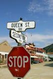 Dawson City. Street signs in Dawson City, Yukon, Canada stock image