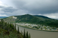 Dawson city. View of Dawson city on Yukon river from above Stock Photo