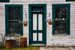 Old tourist shop near Dawson City, Yukon. Dawson City is an eclectic and vibrant northern community on the banks of the Yukon River stock photography