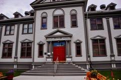 The Dawson City Hall building in Dawson City, Yukon. Dawson City, Yukon is the heart of the world-famous Klondike Gold Rush royalty free stock photo