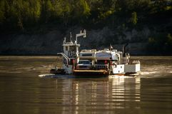 2006-06, Dawson City , US, Ferry in Yukon Rver royalty free stock photo