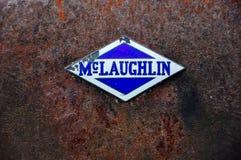 Old McLaughlin logo in Dawson City, Yukon. Dawson City, Yukon is the heart of the world-famous Klondike Gold Rush royalty free stock photo