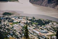 A top view of Dawson City, Yukon. Dawson City, Yukon is the heart of the world-famous Klondike Gold Rush stock images