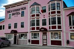 The Westminster Hotel in Dawson City, Yukon. Dawson City, Yukon is the heart of the world-famous Klondike Gold Rush stock images