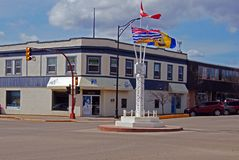 Dawson Creek, British Columbia, Canada Mile 0. Downtown Dawson Creek, British Columbia, Canada Restored buildings with the Alaska Highway Museum and Milepost 0 stock photo