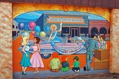 Dawson Creek, British Columbia, Canada Street Art. Street Art depecting World War Two at Mile 0 Alaska Highway stock photo