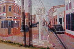 Dawson Creek, British Columbia, Canada Street Art. Street Art depecting World War Two at Mile 0 Alaska Highway royalty free stock image